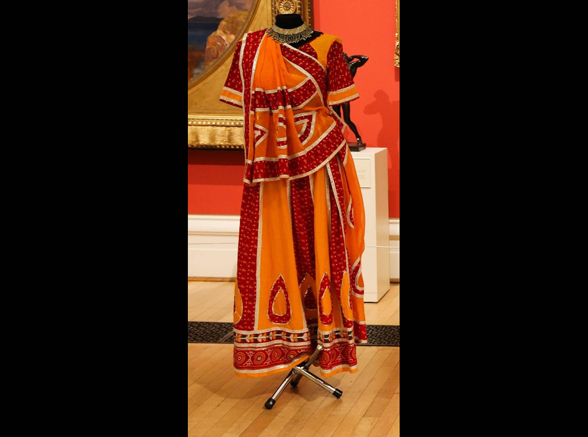 Red and orange cotton folk dance costume